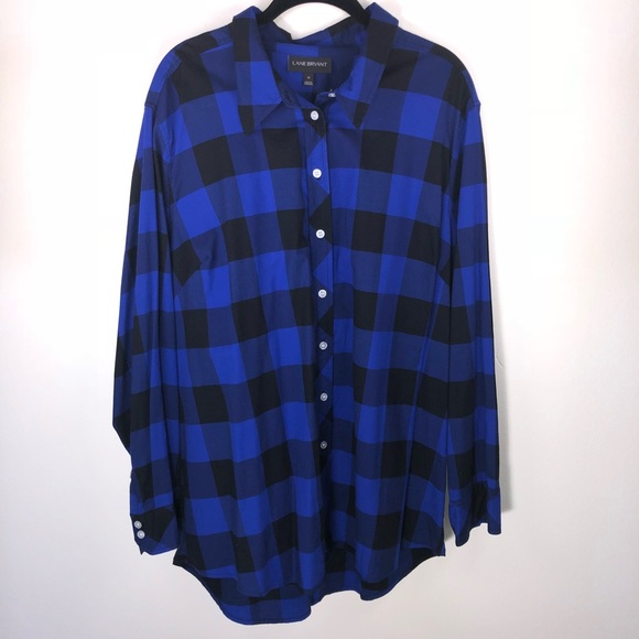 d474a3c2617 Lane Bryant Tops - Lane Bryant Blue   Black Plaid Boyfriend Shirt